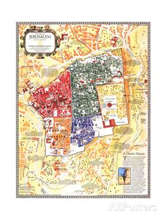 1996 Jerusalem, the Old City Map Poster at AllPosters.com