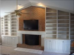 Simple and Crazy Tips and Tricks: Tall Fireplace Decor fireplace art house.Victorian Fireplace Tiles fixer upper fireplace before and after.Fireplace With Tv Couch. Craftsman Fireplace, Cabin Fireplace, Fireplace Bookshelves, Brick Fireplace Makeover, Fireplace Built Ins, Shiplap Fireplace, Small Fireplace, Fireplace Remodel, Fireplace Mantels
