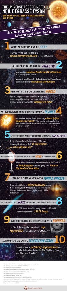 This is the best infographic about the coolest scientist on Earth. #Neil DeGrasse Tyson #science #astrophysics