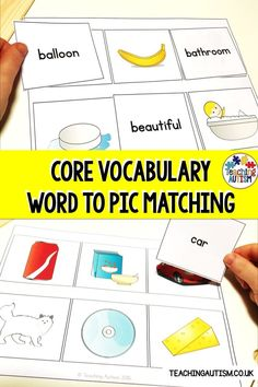 Are you looking for some fun and engaging core vocabulary activities? If so, your kids are going to love this word to picture matching activity. Each board contains 6 symbol images and students have to match the words to the images. Daily 5 Activities, Vocabulary Activities, Language Activities, Hands On Activities, Classroom Activities, Autism Teaching, Teaching Resources, Literacy Stations, Literacy Centers