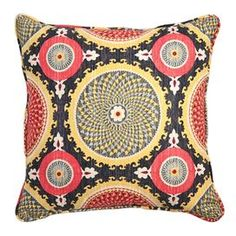 """Cotton pillow with a medallion motif.   Product: PillowConstruction Material: CottonColor: Fiesta Features: Insert includedMade in the USA  Dimensions: 16"""" x 16"""" Cleaning and Care: Professional cleaning recommended"""