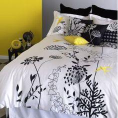 black gray yellow bedroom - like the pops of yellow on the duvet/comforter