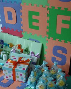 Alphabet Mats as table backdrop