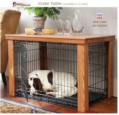 wooden dog crate table and cover information