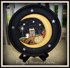 Primitive Fall Harvest Moon Star Wood Plate Home Decor Halloween : primitive wooden plates - pezcame.com