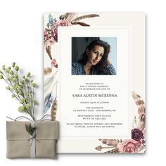 Dreamcatcher Funeral Invitation Feathers and Florals Celebration. Our condolences to you on the loss of your loved one. This gorgeous dreamcatcher themed funeral invitation is dedicated to the free spirit.
