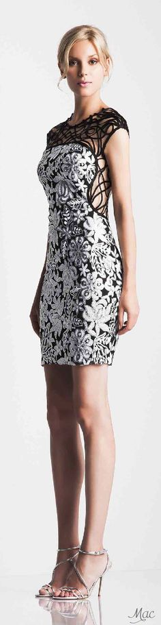 Veloudakis ~ Spring Black + White Floral Mini Dress 2015