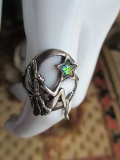 Vintage Sterling Silver Fairy Ring Rainbow Star by PaisleyBabylon