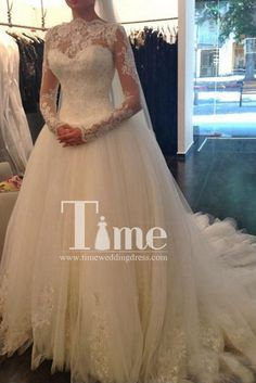 Long Sleeves High Neck Low Back Appliques Lace Ivory/White Ball Gown Wedding Dresses WD149021