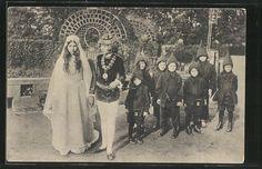 Alte Ansichtskarte: AK Märchenszene Schneewittchen und die 7 Zwerge bei der Hochzeit