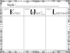 Here's a cute (and free) KWL Chart for you to use in your class! If you are looking for more interactive graphic organizers and book activities you can check out my:GUIDED READING COMPREHENSION and BOOK EXTENSION ACTIVITIES!Enjoy!Erin Lane from InspiredElementary.com