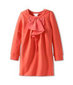 Chloe Kids L/S Fleece Dress w/ Woven Front Ruffle (Toddler/Little Kids) Baie Rose - 6pm.com
