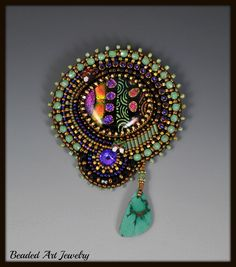 Bead Embroidered, Beadwork, Fused Dichroic Glass Brooch