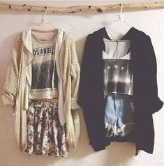 Cardigans, graphic tees & shorts.