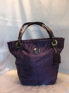 New. Coach Alex Op Art Large Stitched Tote. Starting at $25 on Tophatter.com! Purple Leather, Op Art, Beach Day, Coach Handbags, Longchamp, Patent Leather, Lilac, Pouch, Tote Bag