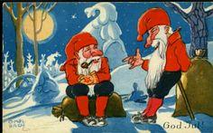 Julekort Otto Mølbach  Beskrivelse  MØLBACH, OTTO. 2 nisser Utg Oppi. Brukt 1937