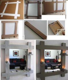 DIY  espejo de carton reciclado