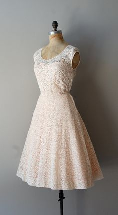 Ivory 1950's Daisy Lace (worn over a pink slip) perfect with cowboy boots as a reception dress