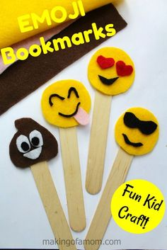 Emoji Bookmarks Felt Craft