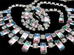 Vintage Iris Glass Rhinestone Set Necklace Earrings Demi Prong Set Striped | eBay