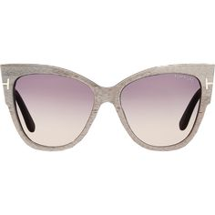 Tom Ford Anoushka ($435) ❤ liked on Polyvore featuring accessories, eyewear, sunglasses, glasses, sunnies, grey, etched glasses, logo sunglasses, cateye glasses and gradient lens sunglasses