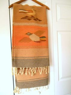 Vintage woven wool Southwestern Rug with Birds by houuseofwren