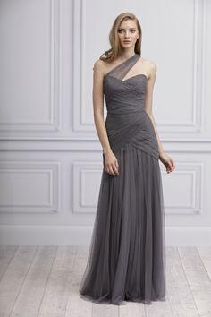 gray bridesmaid dress, one shoulder, illusion neckline by Monique Lhullier @Nicole Weldon
