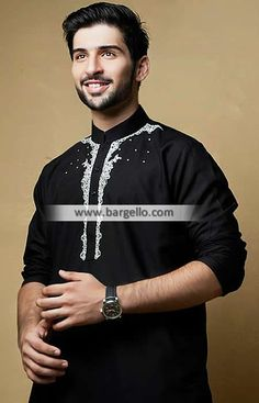 Luxurious Black Embroidered Kurta Suit for Special and Any Occasion - UK USA Canada Australia Saudi Arabia Bahrain Kuwait Norway Sweden New Zealand Austria Switzerland Germany Denmark France Ireland Mauritius and Netherlands Outfits Casual, Casual Blazer, Mode Outfits, Asian Men Fashion, Mens Fashion, Kurta Pajama Men, Sweden News, Gents Kurta, Mens Kurta Designs