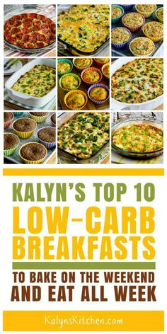 HeHere are my Top 10 Low Carb Breakfasts to Bake on the Weekend and Eat All Week, and all of these are tasty breakfasts I could enjoy for days in a row. Best Low Carb Recipes, Low Sugar Recipes, Good Healthy Recipes, Diet Recipes, Vegetarian Recipes, Healthy Foods, Vegetarian Cooking, Soup Recipes, Low Carb Breakfast