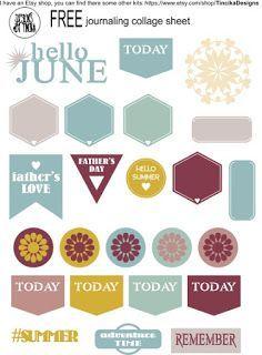 Digital collage sheet for daily journaling - free ! Daily Journal, Email List, Collage Sheet, Digital Collage, Free Printables, Journaling, Templates, Blog, June