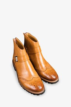 Brown Leather Ankle Boots With Buckles