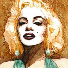 Marilyn Monroe 12x12 metallic art print by MonicaMoodyArt  | This image first pinned to Marilyn Monroe Art board, here: http://pinterest.com/fairbanksgrafix/marilyn-monroe-art/ || #Art #MarilynMonroe
