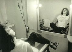Tim Curry on the set of The Rocky Horror Picture Show