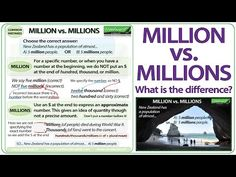 Million vs Millions - English Grammar Lesson Learn English Grammar, English Vocabulary Words, English Language, English Teaching Materials, Teaching English, Which Is Correct, Ell Students, Teaching Numbers, Words To Use