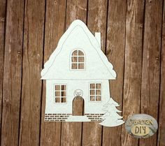 """Laser Cut Chipboard """"A house with a Christmas tree"""" by SiberianDIYcraftsArt on Etsy"""