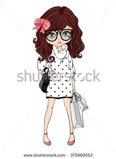 shopping girl/T-shirt Graphics/Book illustrations for children/Romantic hand drawing poster/cartoon character/For apparel or other uses,in vector.