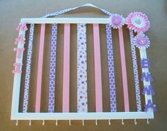 Large personalized hair bow and headband organizer, 16x20 picture frame, pink and purple hair bow holder, personalized room decor on Etsy, $50.00
