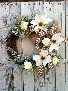 White Chevron Wreath Magnolia Flower Wreath by marigoldsdesigns, $68.00