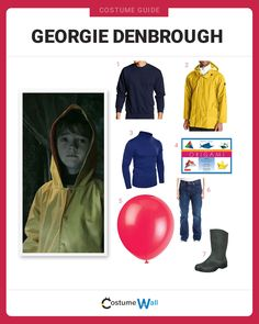 The best costume guide for dressing up like Georgie Denbrough, the little boy lured by Pennywise the Clown in Stephen King's movie It. Cartoon Halloween Costumes, Got Costumes, Family Halloween Costumes, Halloween Photos, Halloween Cosplay, Halloween Fun, Costume Ideas, Stephen King Movies, King Costume