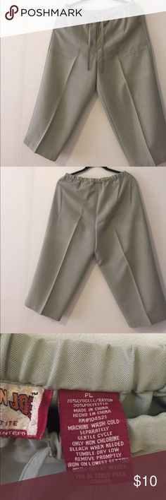"Capris Fits 33"" waist.  Length 30"". Olive green, draw string casual capris. Excellent condition. No flaws. Carribean Joe Shorts"