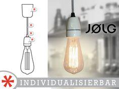 """Individuelle+Pendelleuchte+mit+Glühbirne+""""Edison""""+von+JOLG+Industrielampen+auf+DaWanda.com"""