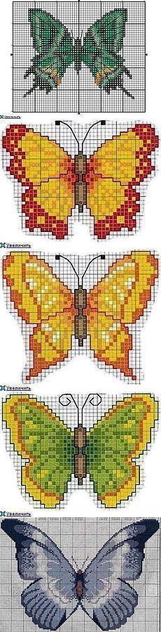 Схемы вышивки крестом бабочки.