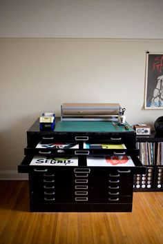 flat file and paper cutting set up
