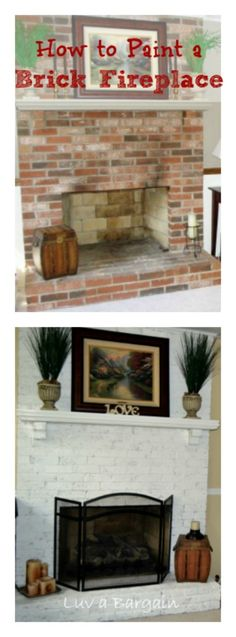 How to Paint a Brick Fireplace - Dramatically change a room by updating an outdated brick fireplace in just a couple of hours and a little paint!  LuvaBargain.com
