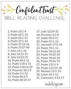 Confident Trust Bible Reading Challenge Is your relationship with God limited by your inability to trust him fully? Then you'll love the Confident Trust Bible reading challenge. Bible Study Plans, Bible Plan, Bible Study Tips, Bible Lessons, Bible Reading Plans, Scripture Reading, Scripture Study, Scripture Journal, Prayer Scriptures