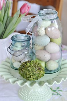 Love the pretty pastel eggs in the vintage blue ball mason jar...have many of these around the house I'll be putting out for Easter decor!