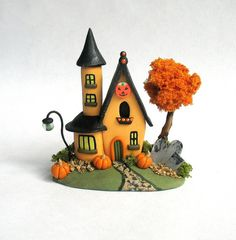 Miniature   Halloween Fairy Witch Manor House with Tree OOAK by C. Rohal