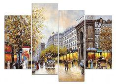 Framed Autumn Sonata Street Cityscape Wall Art Prints Canvas Picture Home Decor #WiecoArt #Modernism
