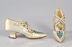 ~Evening shoes Date: ca. 1900 Culture: American Medium: Silk, glass beads, metal beads~