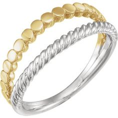 14K White & Yellow Stackable Ring #MYSTULLERSTYLE  Page 355